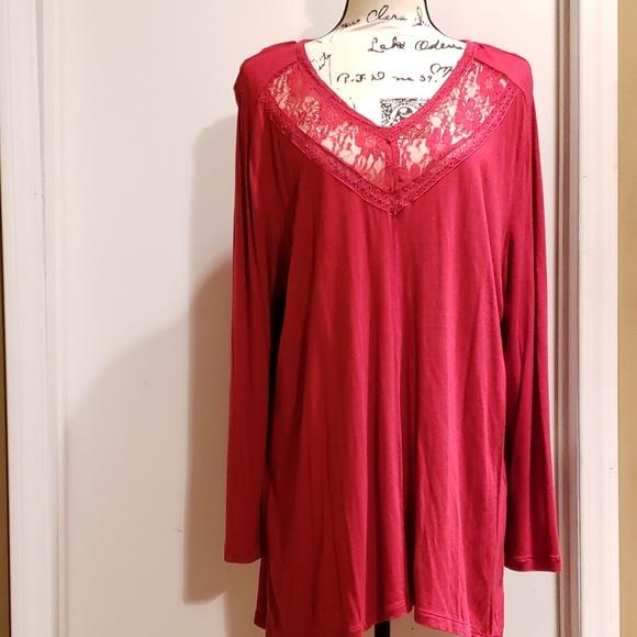 Chelsea Studio Tops - Red Lace Trim Super Soft Top PLUS